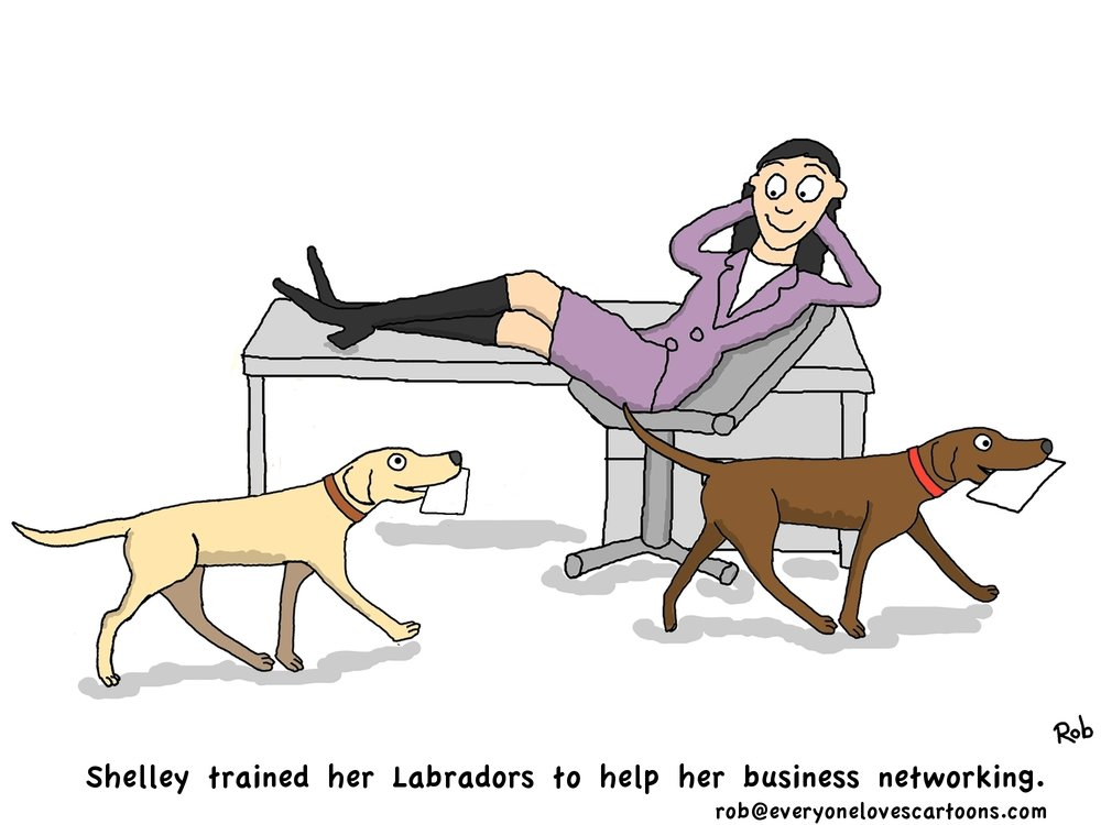 business networking cartoon