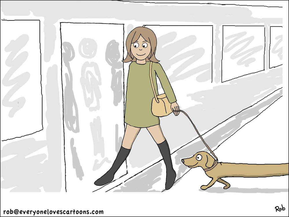 dachshund-woman-cartoon