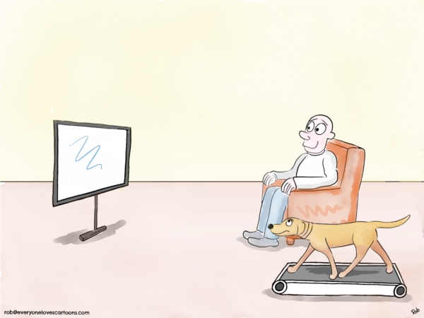 labrador treadmill cartoon