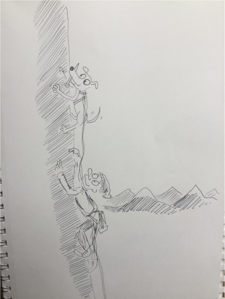 rock climbing cartoon