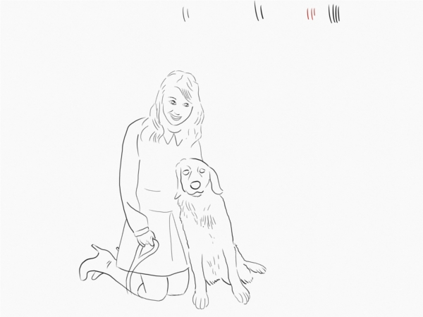 womand and dog sketch