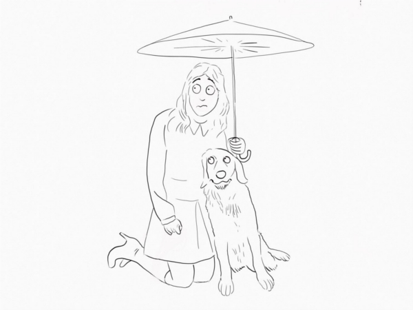 woman and dog umbrella