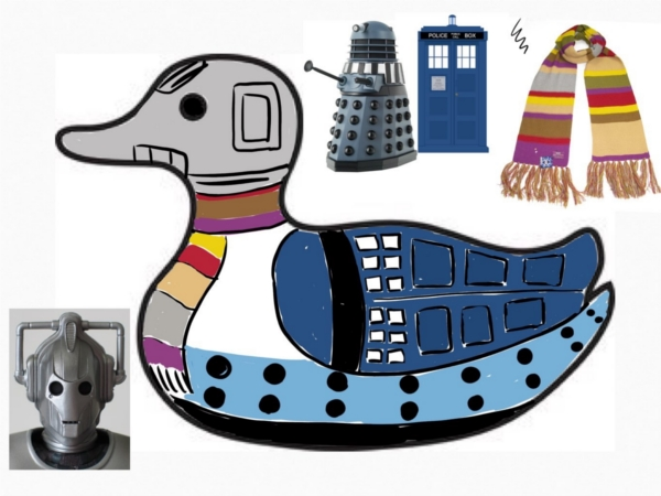 The idea was to decorate the duck with various iconic images from the series. I opted for the Tardis, a cyberman head, a darlek, and Tom Baker's scarf. I also intended to use question marks to fill up any leftover space.
