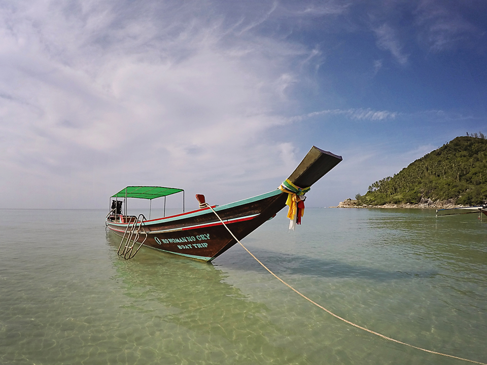 Long tail boat at Bottle Beach