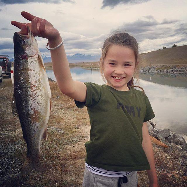 First fish and look at that smile. #lakepukaki