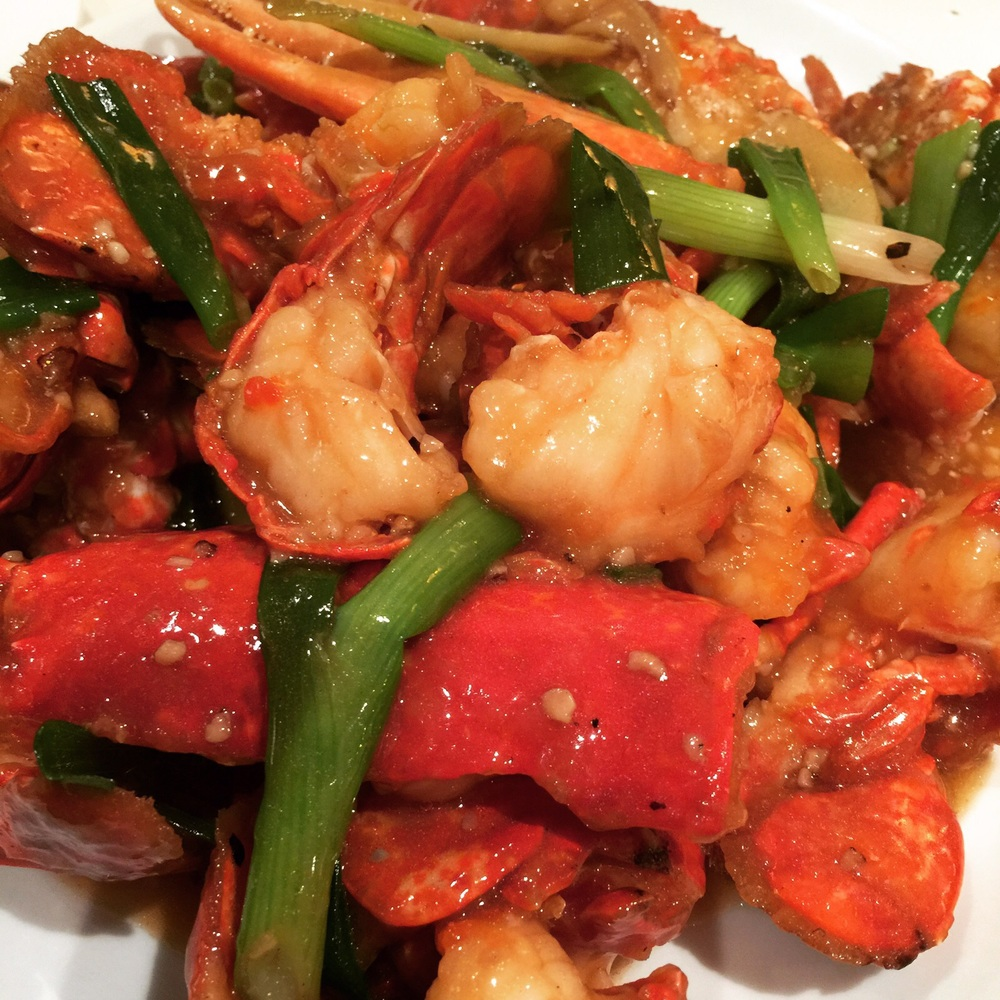 Braised Lobster with Ginger and Spring Onions