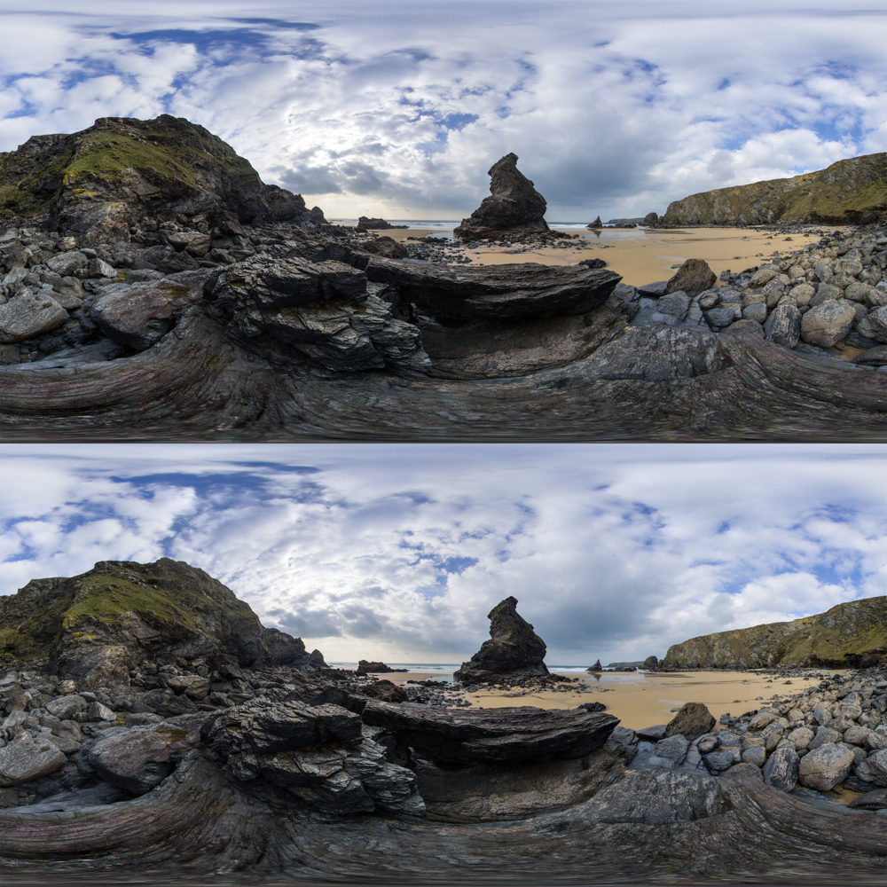 Stereoscopic 360  - Top/Bottom 3D format. One image for each eye.