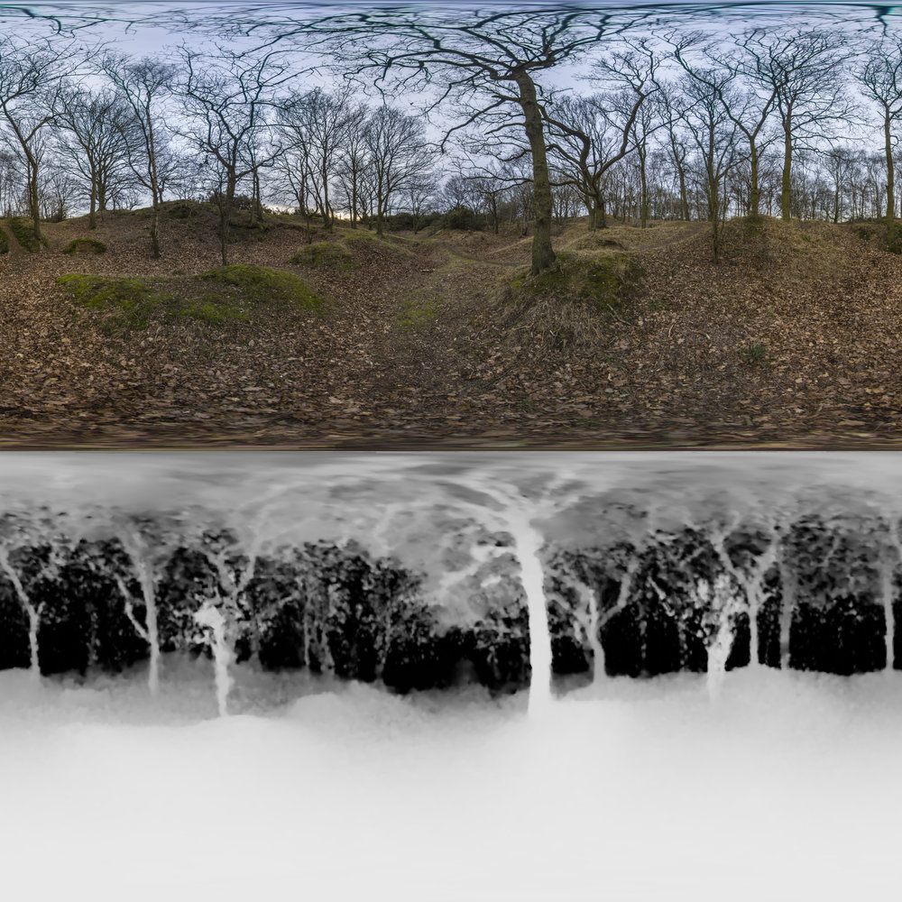 The standard format for VR Depth Maps - the image displayed on top and the depth information displayed underneath, the further away an object, the darker the shade.