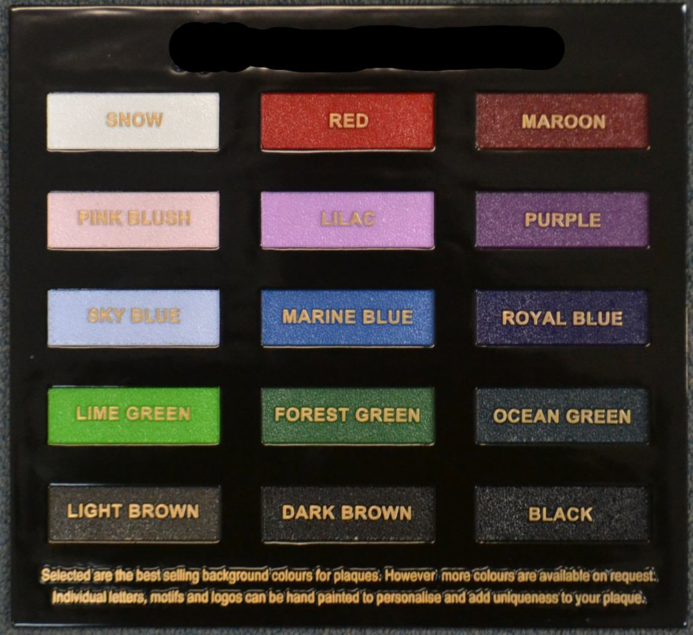 Bronze Plaque Colour Chart