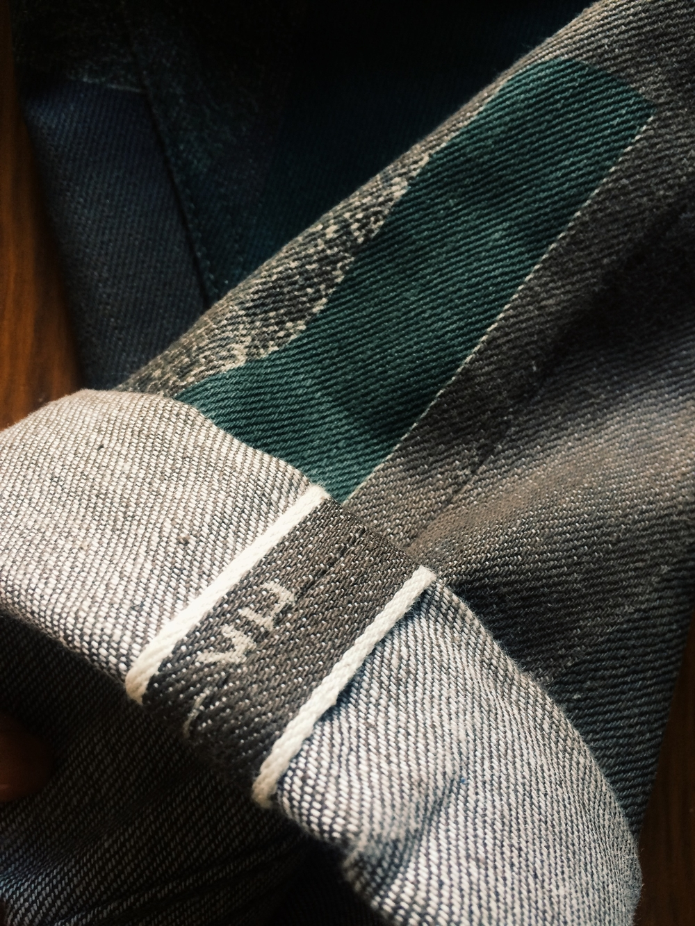 Green printed camo selvedge
