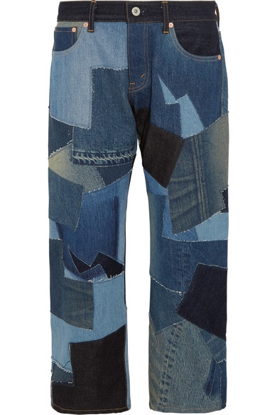 **Once in a lifetime pant** JUNYA WATANABE Cropped leather-trimmed patchwork boyfriend jeans