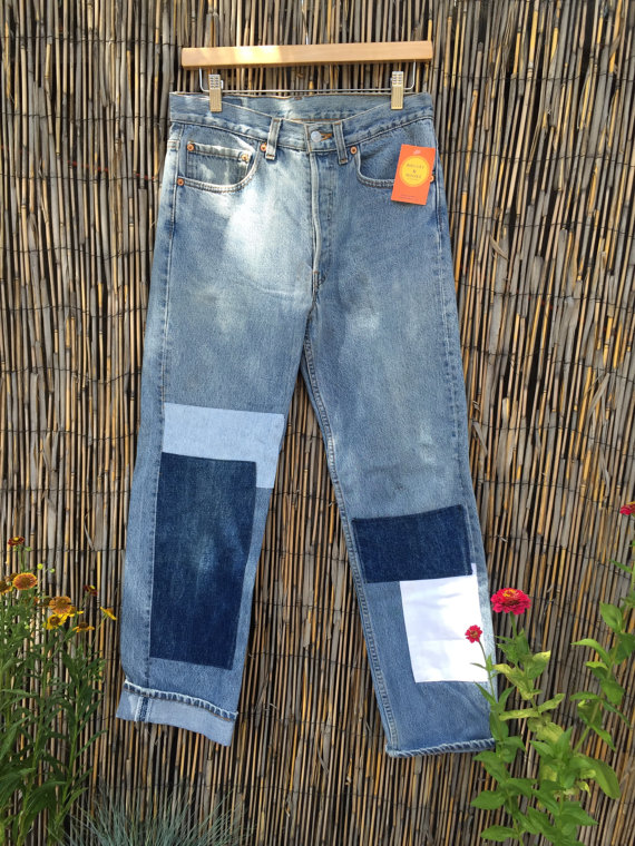 VINTAGE Levis 501 Custom Patchwork Blue Jeans Denim