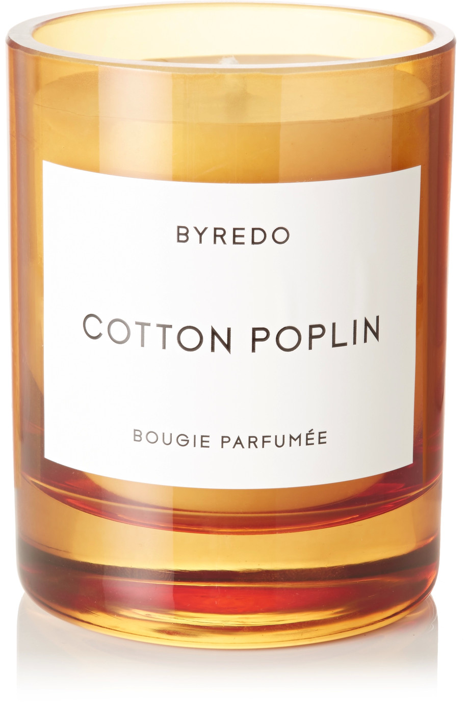 - Byredo | Cotton Poplin Candle - with 60 hours burning time and a fresh calming scent this is the perfect candle for someone who wants something a little different to the usual Jo Malone, but with the same quality and lasting fragrance. The hand painted orange glass vessel is also a smart touch.