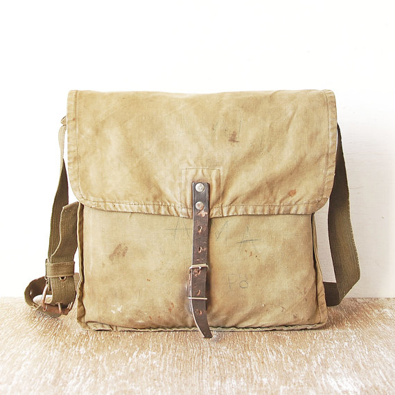 Distressed Military Green Canvas Bag - Etsy - £9.43  (Not inc shipping - extra £4.99 in the UK)