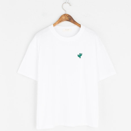 Olive - Embroidered Tee, Ivory - £28