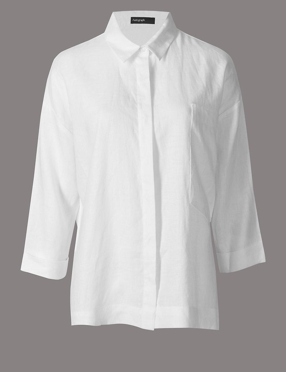 M&S -AUTOGRAPH Linen 3/4 Sleeve Shirt-£39.50