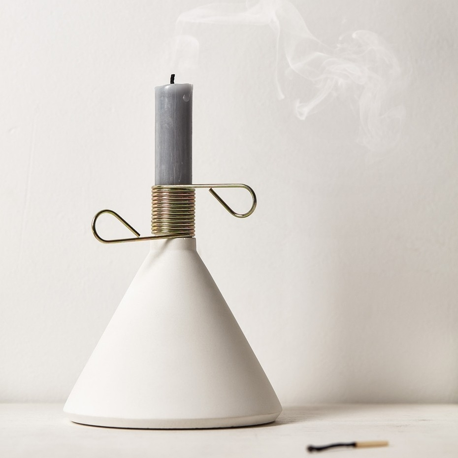 White Concrete Candle Holder - A contemporary alternative to a scented candle. (Teamed with the insepertables matches above for extra friend points)£29