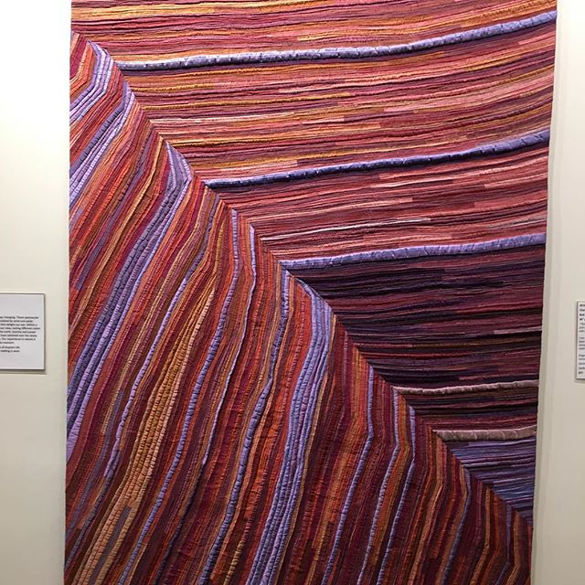 "Sunset on Coyote Buttes II now at Rocky Mountain Quilt Museum for their ""Evolutions"" exhibit. #silkquilts #artquilts #coyotebuttes #sandstone"