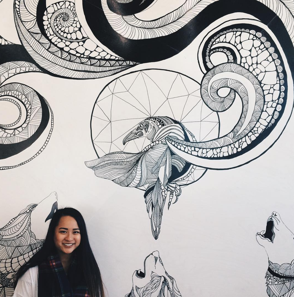 There's also a black-and-white mural by Toronto artist Tara Niewiadomski.
