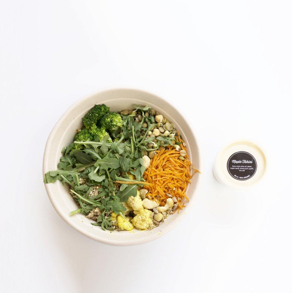 Plant Protein Salad w. Maple Tahini Dressing