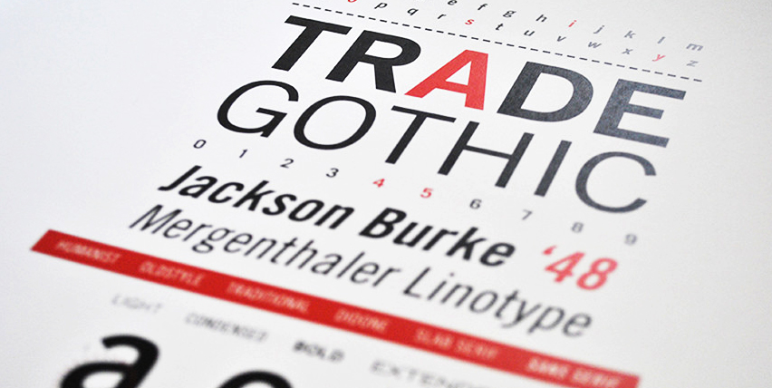 Trade Gothic specimen book cover by Shane Legaspi