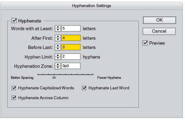 Hyphenation palette InDesign