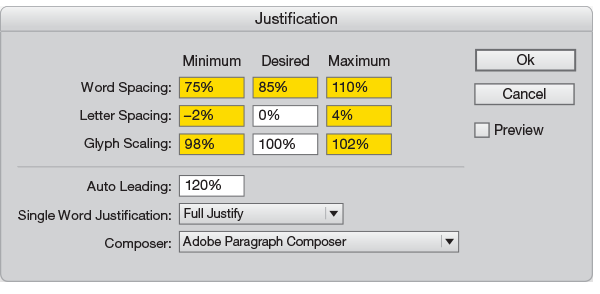 Justification palette InDesign