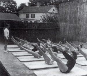 Joseph Pilates teaching a class in the Tea Garden at Jacob's Pillow Dance 1943 S2