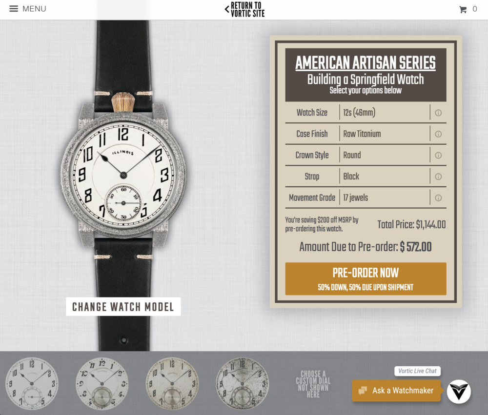 Vortic Watch Builder American Artisan Series.png