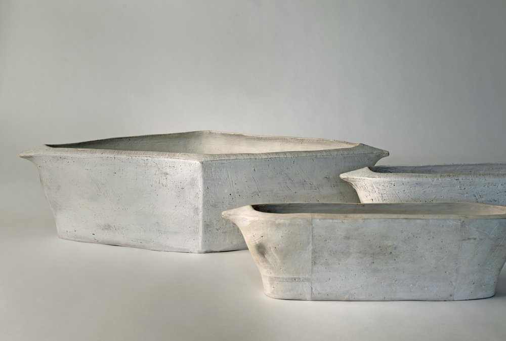 untitled troughs , earthenware, sizes varied, 2017