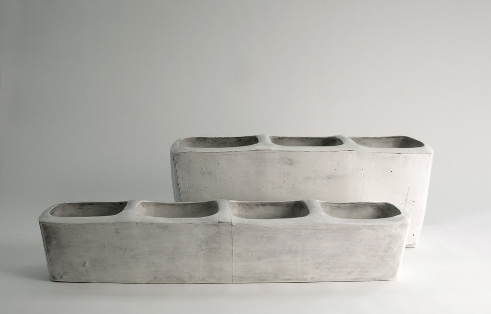 """partitioned troughs with handles , earthenware, 5""""x25""""x6.5"""" (front), 8""""x27""""x8"""" (back), 2018"""