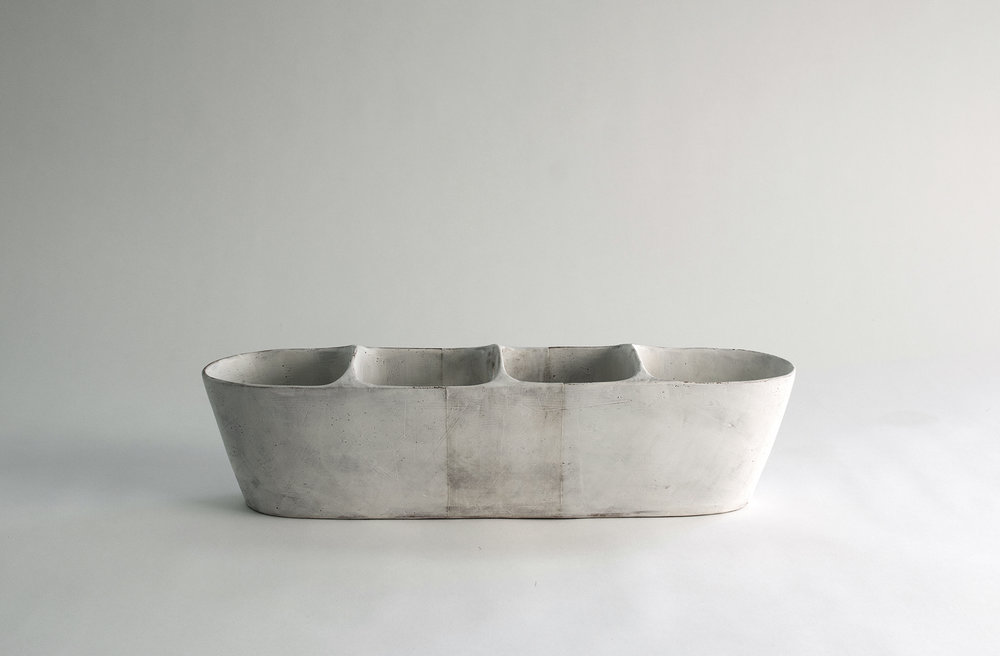 """small trough with handle , earthenware, 4.5""""x17""""x4.5"""", 2018"""