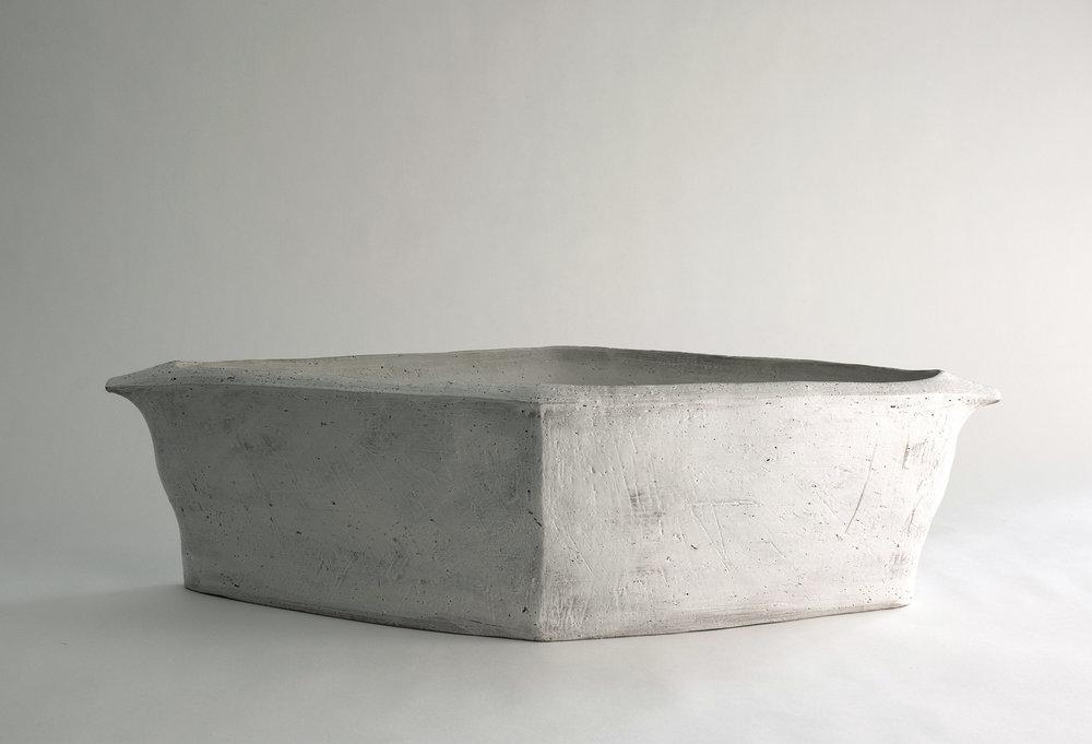 """diamond trough , earthenware, 7.5""""x26""""x10.5"""", 2017"""