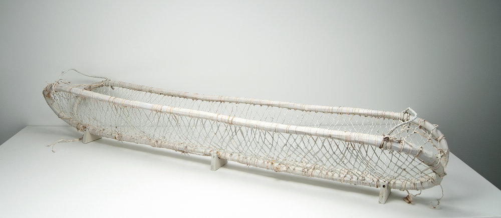 """long basket with end handles , leather, wood, milk paint, nails, 9.5""""x49""""x6.5, 2018"""