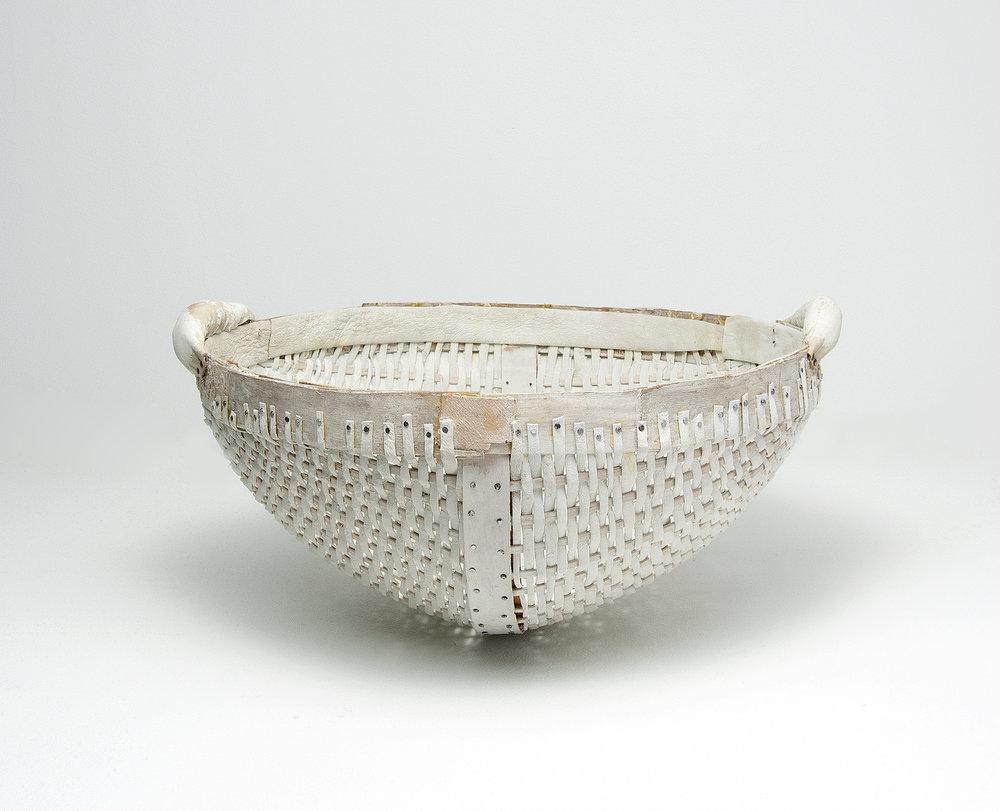 "untitled basket (white) , Leather, wood, milk paint, nails, 6.5""x13.5""x13"", 2018"