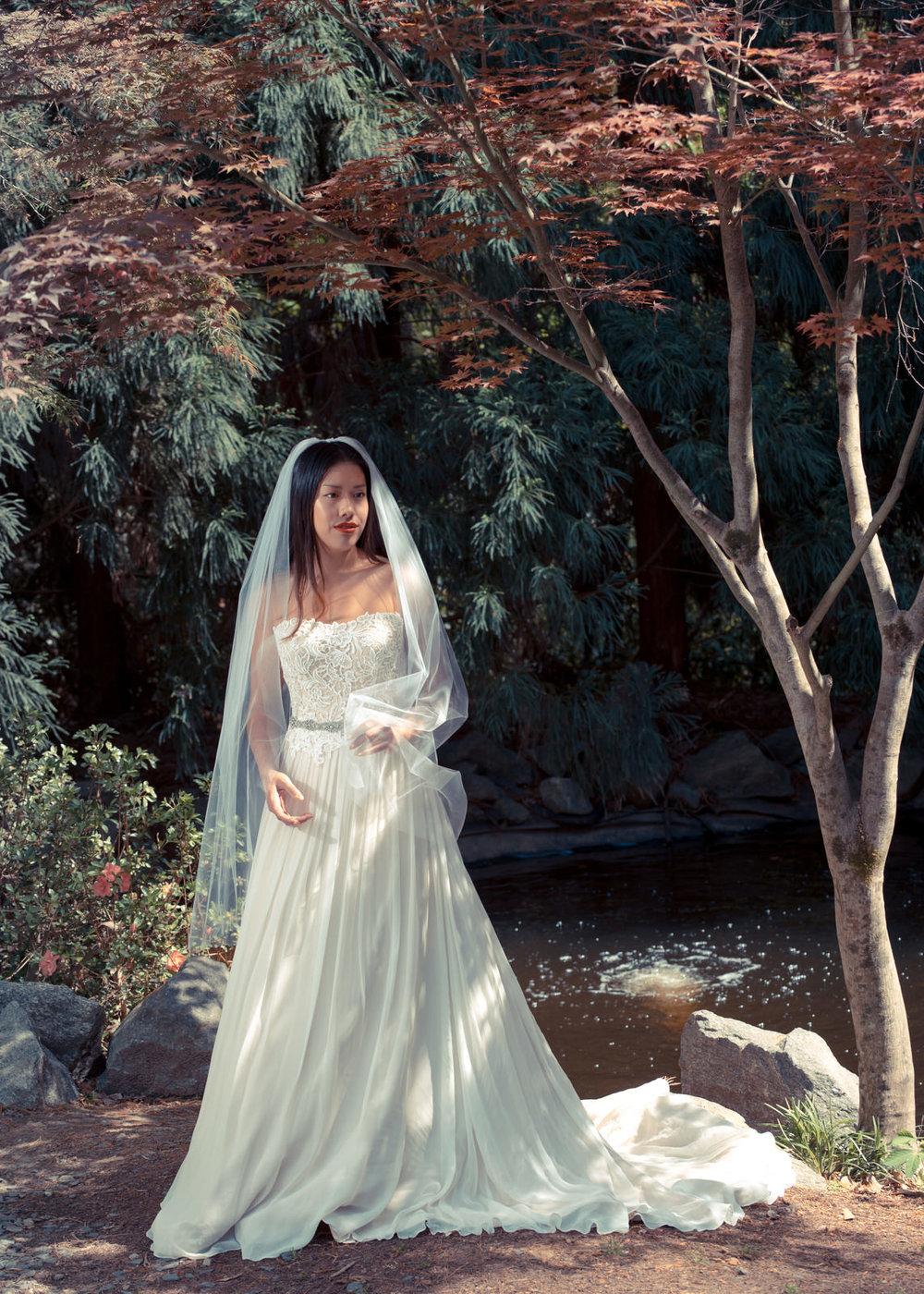 Bridal Portraits by the Koi Pond