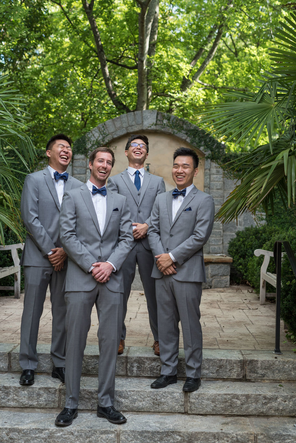 Groom & Groomsman share a laugh at Rock Spring Presbyterian Church, Atlanta Georgia