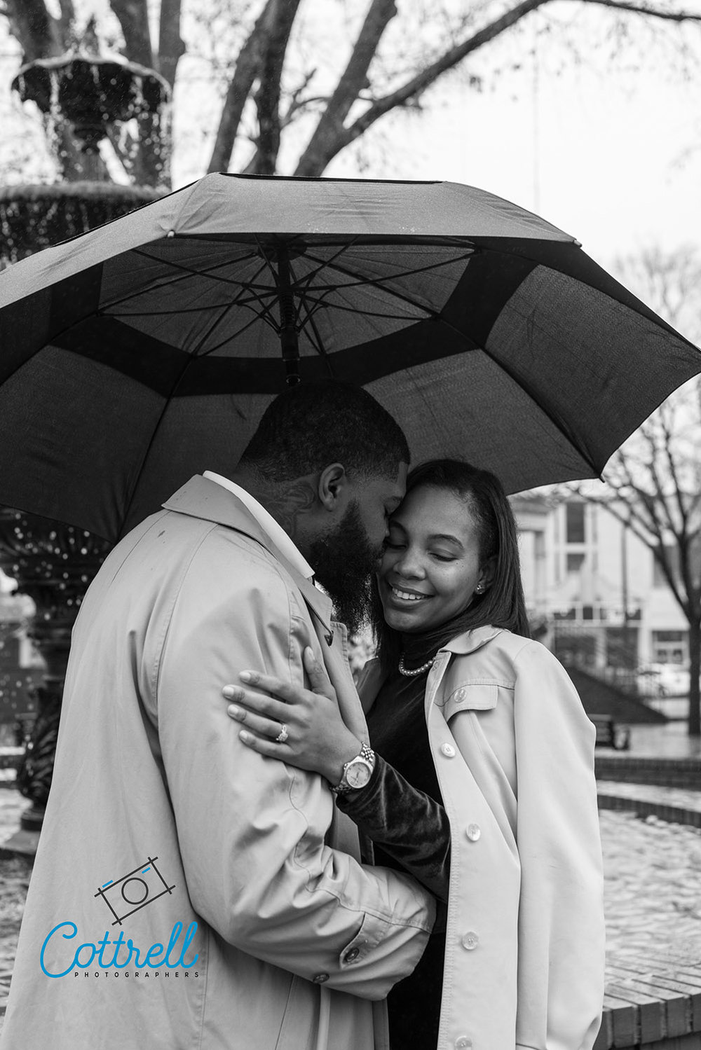 Beautiful rainy day portrait of Kasha & Xavier