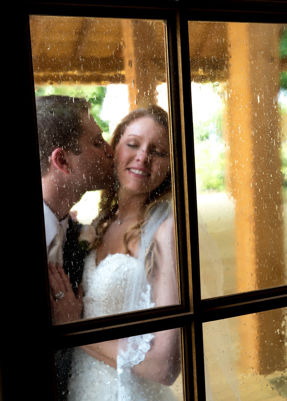 Bride and Groom Through Victorian-style Doorway