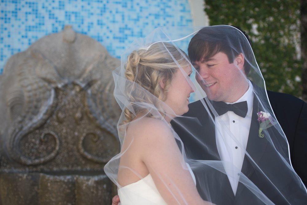 Wedding veil moment at the Ponte Vedra Inn, Florida