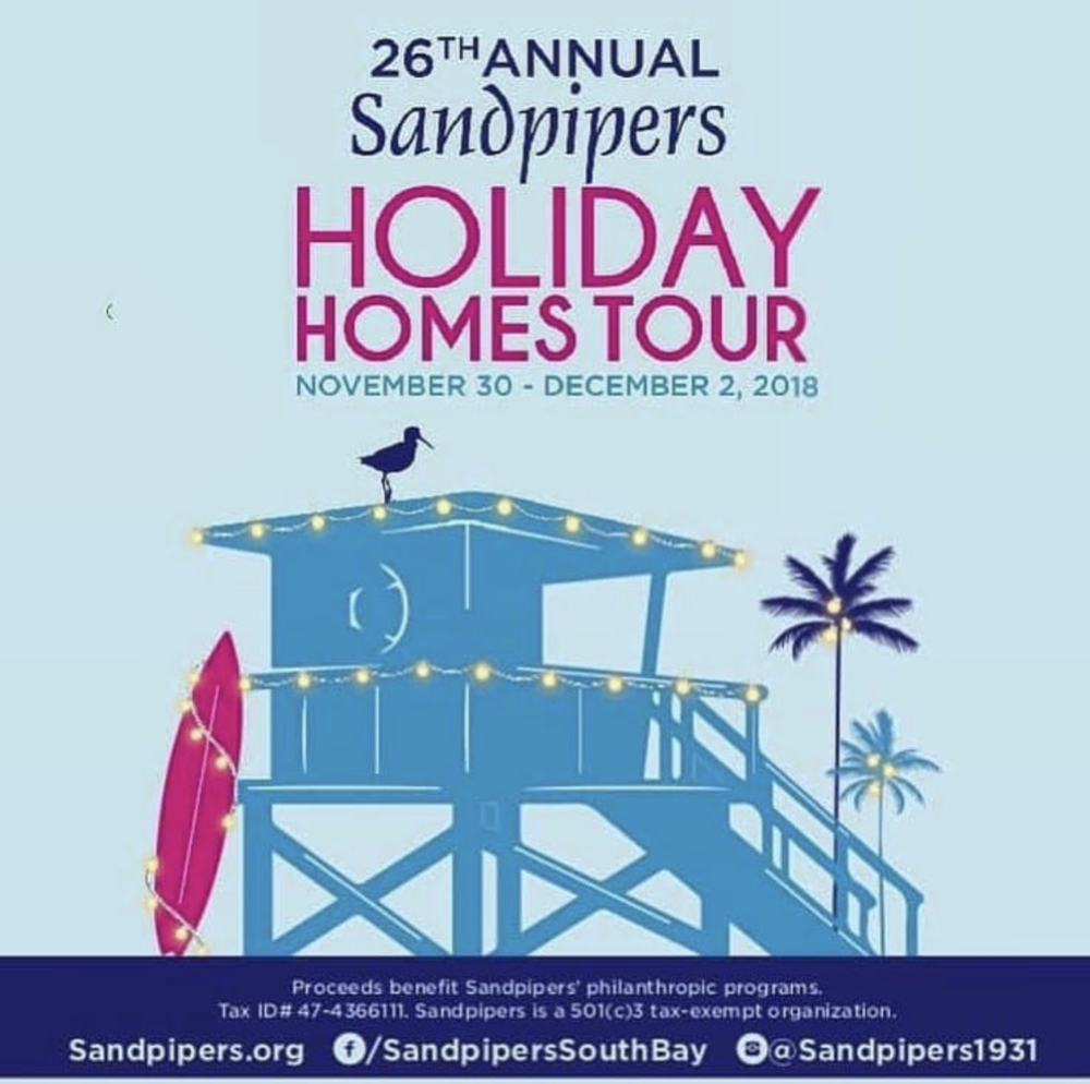 26th Annual sandpiper - We are so honored to be a chosen local vendor for this years Sandpipers' Holiday Homes Tour. This 100% volunteer women's organization touches the lives of thousands of deserving individuals, children & families in the South Bay area, through philanthropic programs. Come shop for your holiday gifts while giving back at the same time! 25% of all proceeds will be going Sandpipers' charitable programs.