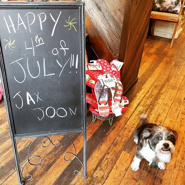 Happy Independence Day! Come get a great deal on patriotic flip flops and see our sometimes shop dog Feyd.