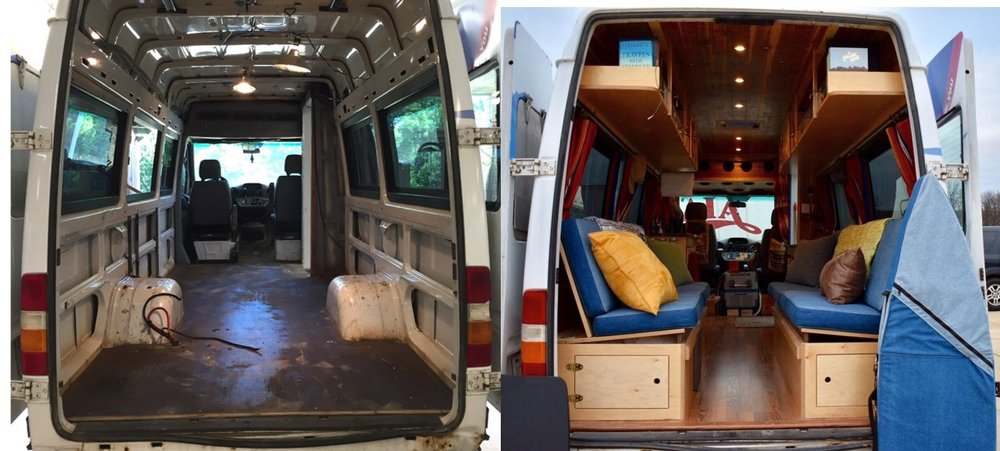 Before and after of our Sprinter van conversion.