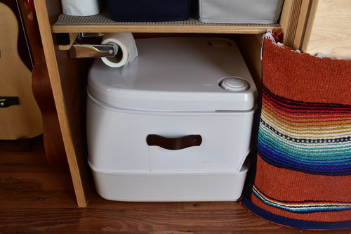 Our simple water system and Dometic toilet are all we need to live comfortably in the van