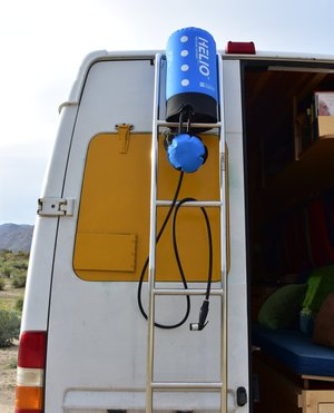 Helio camping shower helps us stay clean