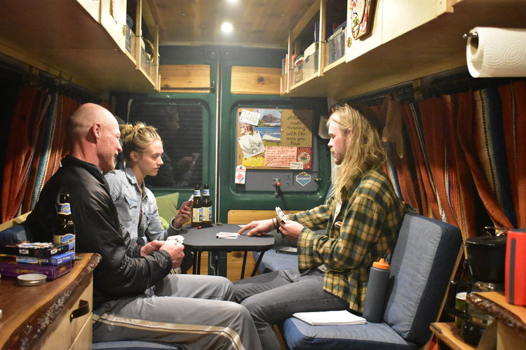 Entertaining guests in the van with games and brews