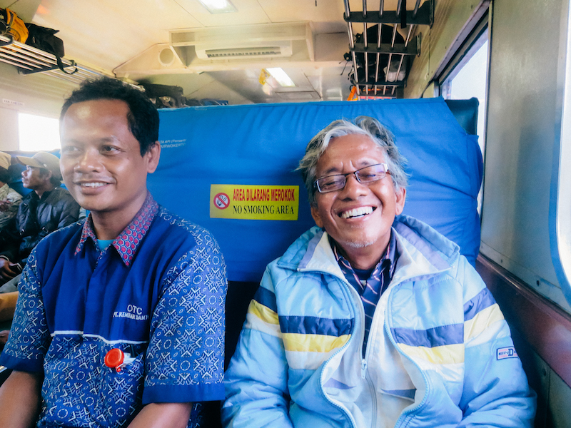 On a 9 hr ride on the local train to Pangandaran, Indonesia, we had the chance to become friends with Rinto and Sujati.