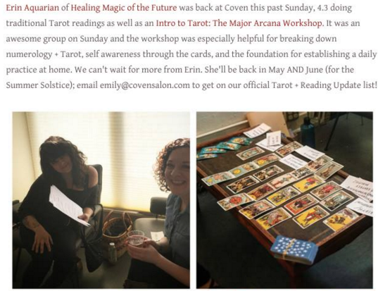 Tarot on the road!  Teaching Beginning Tarot at Coven Salon in Seattle, 2016