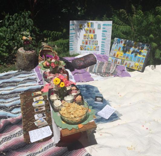 Backyard tarot party for Feral Girls Camp, Summer 2017