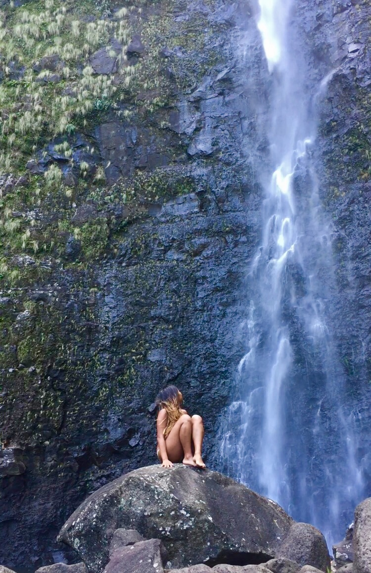 This is me looking up at a waterfall in a remote valley on the Big Island of Hawaii.